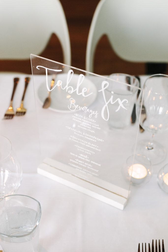 acrylic table number and menu